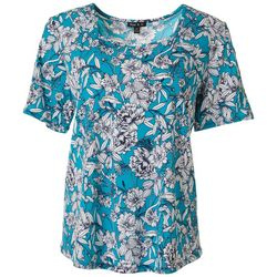 Womens Floral Puff Print Ring Detail Top