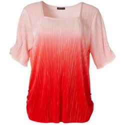 Sami & Jo Womens Ombre Print Square Neck Short Sleeve Top