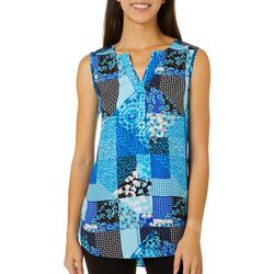 Sami & Jo Womens Patchwork Print High-Low Sleeveless Top
