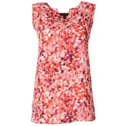 Sami & Jo Womens Graphic Print High-Low Sleeveless Top