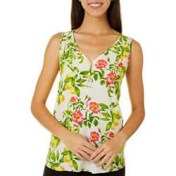 Le Kate Womens Lemon Print Sleeveless Top