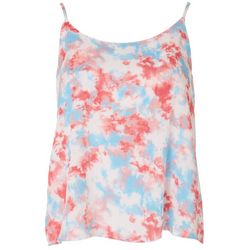 Le Kate Womens Tie-Dye Scoop Neck Tank Top