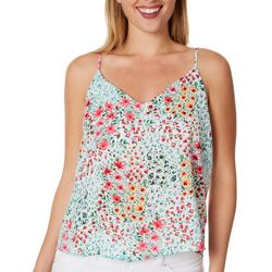 Le Kate Womens Floral V-Neck Tank Top