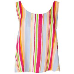 Le Kate Womens Vertical Stripe V-Neck Tank Top