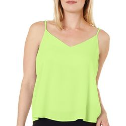 Le Kate Womens Solid Scoop Neck Tank Top