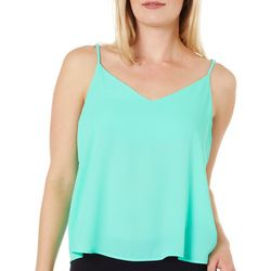 Le Kate Womens Solid V-Neck Tank Top