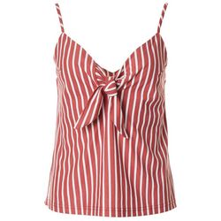 Everly Womens Striped Tie Front V-Neck Tank Top