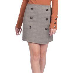 Le Kate Womens Buttoned Plaid Mini Skirt