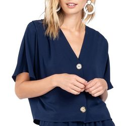 Everly Womens Short Sleeve Solid Button Down Top