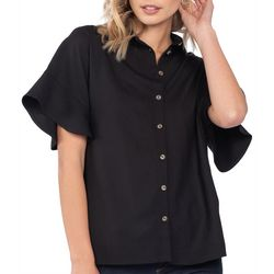 Everly Womens Bell Short Sleeve Solid Button Down Top