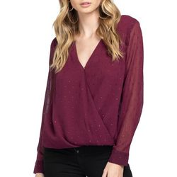 Everly Womens Solid Surplice Long Sleeve Top