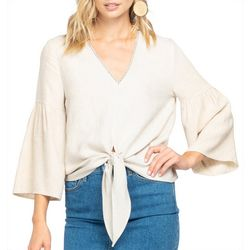 Everly Womens Solid Tie Front Bell Sleeve Top
