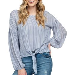 Everly Womens Mixed Stripe Print Long Sleeve Top