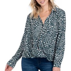 Everly Womens Mixed Print Long Sleeve Top