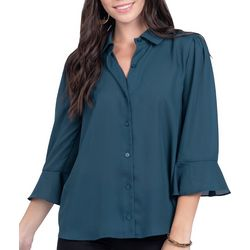 Everly Womens Solid Button Down Bell Sleeve Top