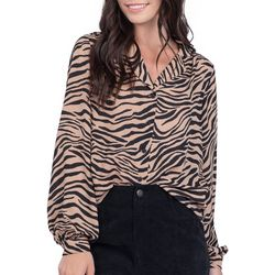 Everly Womens Zebra Print Button Down Long Sleeve Top