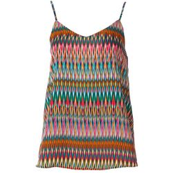 Le Kate Womens Geometric Stripe V-Neck Tank Top