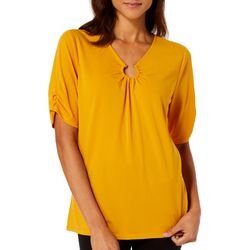 Adrienne Vittadini Womens Solid Ring Detail Short Sleeve Top