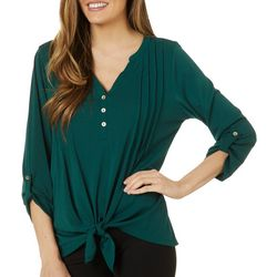 Adrienne Vittadini Womens Solid Tie Front Pleated Top