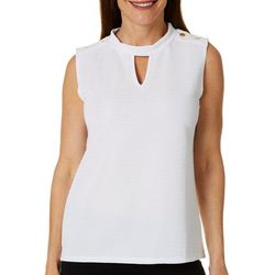 Adrienne Vittadini Womens Textured Solid Sleeveless Top