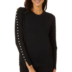 Carmen Marc Valvo Womens Solid Pearl Detail Long Sleeve Top