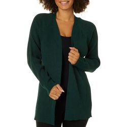 Premise Womens Solid Open Front Ribbed Long Sleeve Cardigan