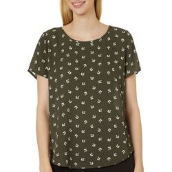 Premise Womens Whimsical Print Pleated Short Sleeve Top