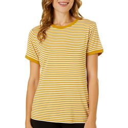 T. Tahari Womens Striped Crew Neck Short Sleeve Top
