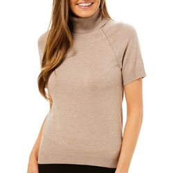 Premise Womens Solid Turtleneck Short Sleeve Top