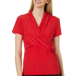 T. Tahari Womens Solid V-Neck Short Sleeve Top