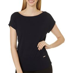 T. Tahari Womens Solid Round Neck Short Sleeve Top