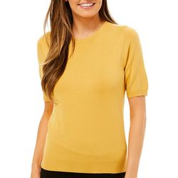 Premise Womens Solid Pearl Button Short Sleeve Top