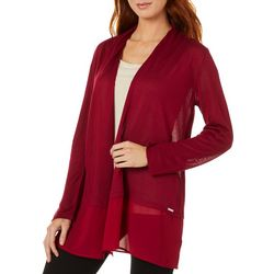 T. Tahari Womens Solid Knit Open Front Cardigan