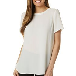 Premise Womens Solid Lace Panel Detail Short Sleeve Top