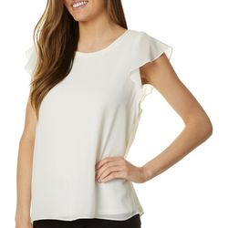 Premise Womens Solid Woven Flutter Sleeve Top