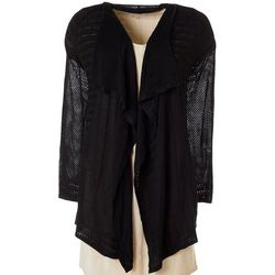 T. Tahari Womens Solid Open Front Cardigan