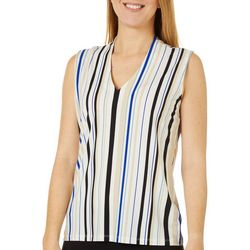 Premise Womens Striped V-Neck Sleeveless Top