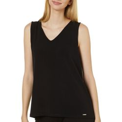 T. Tahari Womens Solid Knit V-Neck Sleeveless Top