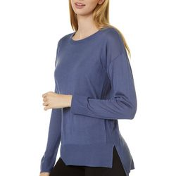 Womens Solid Round Neck Long Sleeve Top