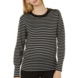Philosophy Womens Striped Button Detail Long Sleeve Top