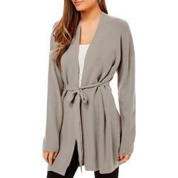 Philosophy Womens Solid Open Front Long Sleeve Cardigan