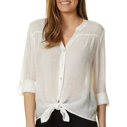 Zac & Rachel Womens Solid Button Down Tie Front Top