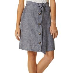Zac & Rachel Womens Solid Faux Button Linen Skirt