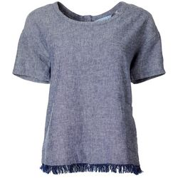 Womens Solid Frayed Hem Short Sleeve Top