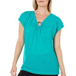 Prosecco Womens Solid Linen Ring Neckline Top