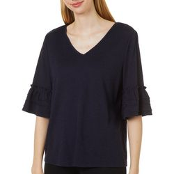 Zac & Rachel Womens Solid Crochet Trim Bell Sleeve Top