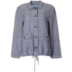 Womens Solid Patch Pocket Button Down Jacket