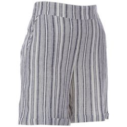 Prosecco Womens Mixed Vertical Stripes Linen Shorts
