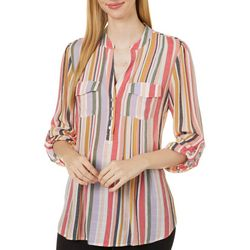 Zac & Rachel Womens Striped Roll Tab Sleeve Top