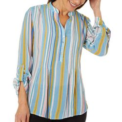 Zac & Rachel Womens Vertical Striped Pintuck Roll Tab Top